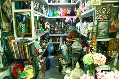 Flea market stores in Dapitan Arcade in Manila, Philippines selling houseware and home decor. Stock Photo