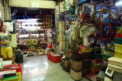 Flea market stores in Dapitan Arcade in Manila, Philippines selling houseware and home decor. Royalty Free Stock Images