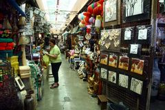 Flea market stores in Dapitan Arcade in Manila, Philippines selling houseware and home decor. Stock Images