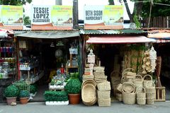 Flea market stores near Dapitan Arcade in Manila, Philippines selling houseware and home decor. Royalty Free Stock Images