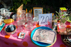 Flea market table Royalty Free Stock Photo