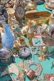 Flea market. Various antique objects for sale at flea market Stock Image