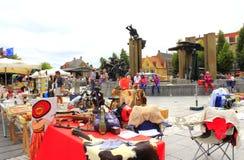 Flea market view Bruges Belgium Royalty Free Stock Images