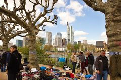 Flea market on the waterfront of the River Main Stock Photos