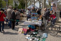 Flea market on the waterfront of the River Main Stock Image