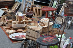 Flea market with wooden items. Flea market with old wooden items stock photography