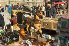 Children`s horse at the flea market in Zagreb royalty free stock photo