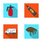 Flea, special car and equipment flat icons in set collection for design. Pest Control Service vector symbol stock web Royalty Free Stock Photos