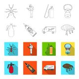 Flea, special car and equipment outline,flet icons in set collection for design. Pest Control Service vector symbol Stock Image