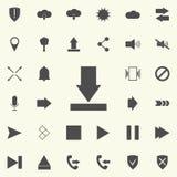 flecha abajo al icono sistema universal de los iconos del web para el web y el móvil stock de ilustración