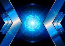 Flecha abstracta con el circuito y el backgroun ligero azul de la tecnología Fotos de archivo