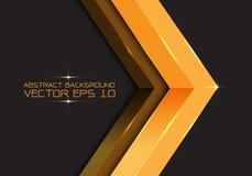 Flecha abstracta 3D del oro en el espacio en blanco gris oscuro para el vector creativo futurista moderno del fondo del diseño de Fotos de archivo libres de regalías