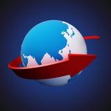 Flecha alrededor de la tierra Imagenes de archivo