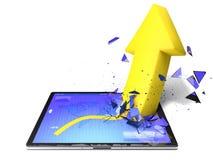 Flecha amarilla de la tableta Imagenes de archivo