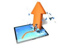 Flecha amarilla de la tableta Foto de archivo libre de regalías
