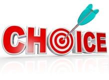 Flecha bien escogida en opción de la palabra de la diana de la blanco la mejor Foto de archivo libre de regalías