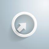 Flecha blanca con el círculo Foto de archivo