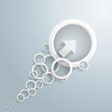 Flecha blanca con los círculos Imágenes de archivo libres de regalías