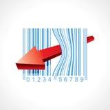 Flecha con de codigo de barras Fotografía de archivo