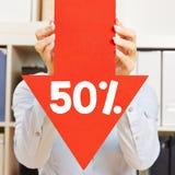 Flecha con el descuento del 50% Imagenes de archivo