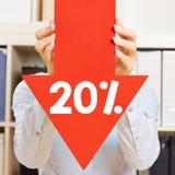 Flecha con el descuento del 20% Imagen de archivo