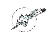 Flecha con el emblema de la pluma stock de ilustración