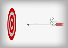 Flecha con símbolo del dólar y blanco del tiro al arco en el CCB gris Fotos de archivo libres de regalías