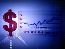 Flecha creciente del éxito del dólar del gráfico financiero de la carta de barra stock de ilustración