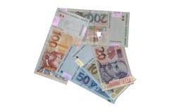 Flecha croata de los billetes de banco del kuna de la moneda Fotos de archivo libres de regalías