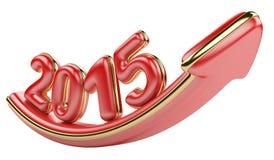 flecha 3D con el crecimiento 2015 del año hacia arriba Fotos de archivo libres de regalías