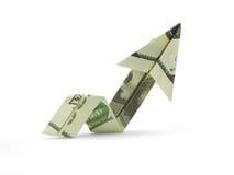 Flecha de cientos billetes de banco del dólar Fotografía de archivo