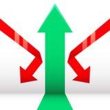 Flecha de Growth&Down Fotografía de archivo libre de regalías