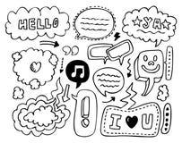 Flecha de la burbuja del discurso del bosquejo del Doodle Fotografía de archivo