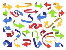 Flecha de la cinta 3d Flechas del tirón, indicador colorido e icono abierto Sistema de símbolos curvado del vector de la flecha d ilustración del vector