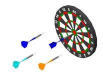 Flecha de la diana y de los dardos Aislado en el fondo blanco Vector stock de ilustración