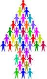 Flecha de la gente de la diversidad Fotos de archivo
