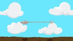 Flecha de la historieta que vuela y que golpea un árbol ilustración del vector