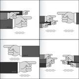 Flecha de la mano que señala el índice Team Sign Set Grey Fotografía de archivo