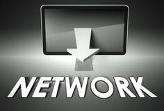 Flecha de la pantalla y de la carta con el Internet de la palabra, red Fotografía de archivo libre de regalías