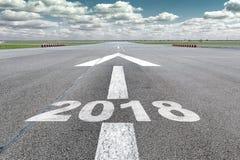 Flecha 2018 de la pista del aeropuerto Imagen de archivo