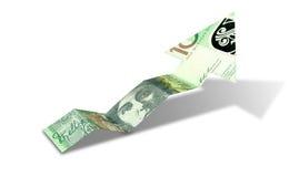 Flecha de la tendencia al alza del billete de banco del dólar australiano Fotos de archivo libres de regalías