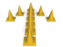Flecha de los conos del tráfico Fotos de archivo