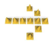 Flecha de los conos del tráfico Foto de archivo libre de regalías