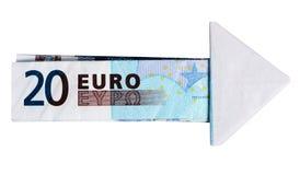 Flecha de los euros - dinero, concepto financiero Fotografía de archivo libre de regalías