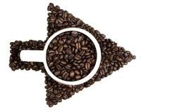Flecha de los granos de café Imagenes de archivo