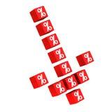 Flecha de los símbolos abajo 3d del por ciento Fotografía de archivo libre de regalías