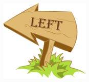 Flecha de madera dejada ilustración del vector