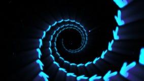 Flecha de ne?n que brilla intensamente azul Flechas modernas futuristas que vuelan T?nel iluminado de la tecnolog?a de comunicaci libre illustration