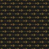 Flecha de oro inconsútil en fondo oscuro Colores amarillos y negros Imagen de archivo