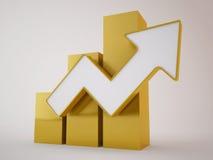 Flecha de oro para arriba Imagen de archivo